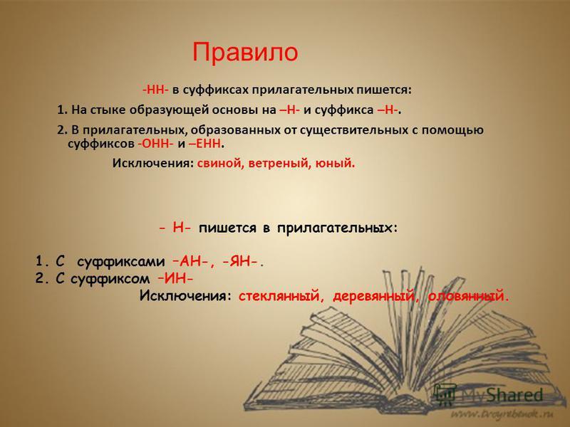 Правило -НН- в суффиксах прилагательных пишется: 1. На стыке образующей основы на –Н- и суффикса –Н-. 2. В прилагательных, образованных от существительных с помощью суффиксов -ОНН- и –ЕНН. Исключения: свиной, ветреный, юный. - Н- пишется в прилагател
