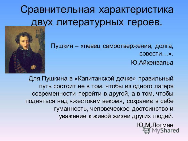 Сравнительная характеристика двух литературных героев. Пушкин – «певец самоотвержения, долга, совести…». Ю.Айхенвальд Для Пушкина в «Капитанской дочке» правильный путь состоит не в том, чтобы из одного лагеря современности перейти в другой, а в том,