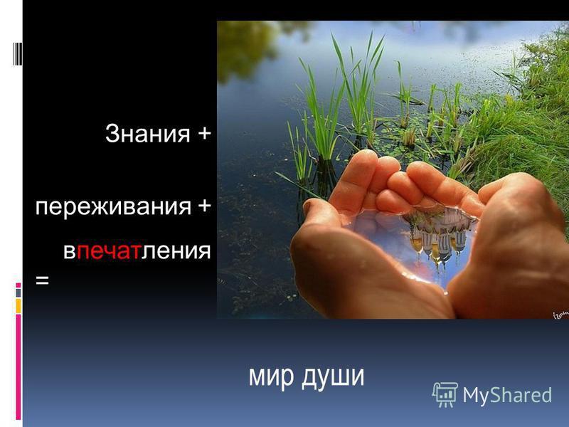 мир души Знания + переживания + впечатления =