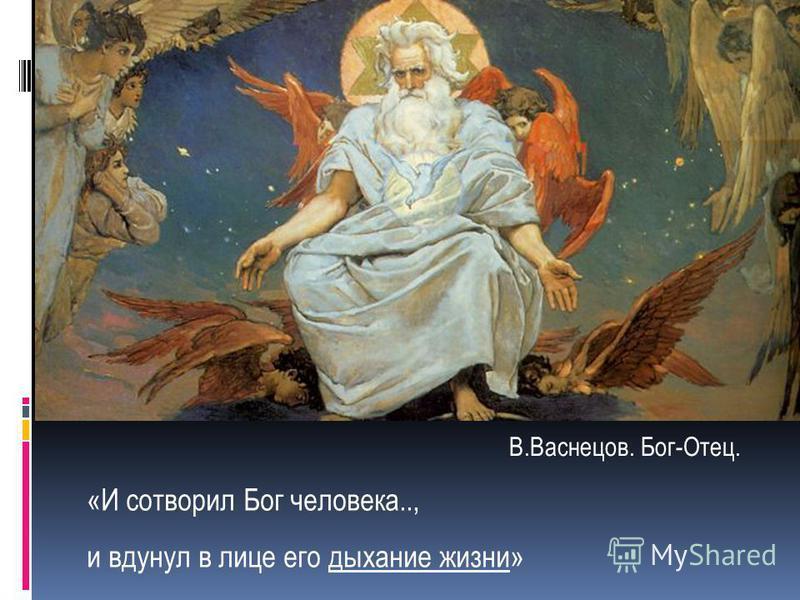 «И сотворил Бог человека.., и вдунул в лице его дыхание жизни» В.Васнецов. Бог-Отец.