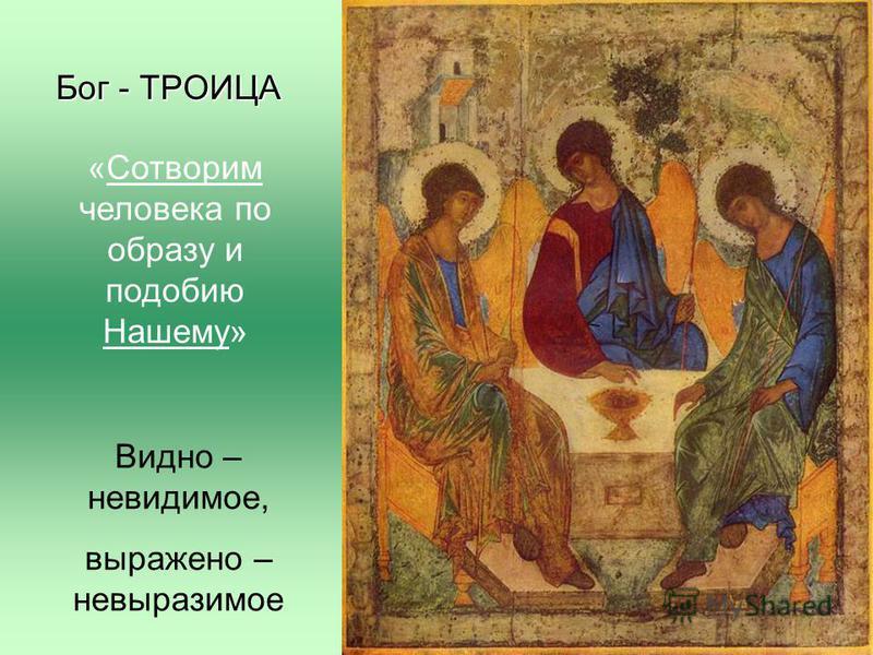Бог - ТРОИЦА «Сотворим человека по образу и подобию Нашему» Видно – невидимое, выражено – невыразимое