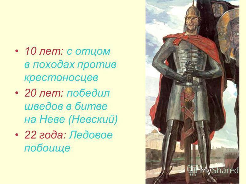 10 лет: с отцом в походах против крестоносцев 20 лет: победил шведов в битве на Неве (Невский) 22 года: Ледовое побоище