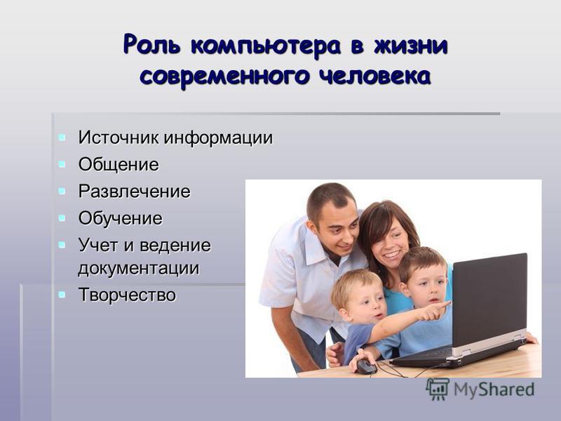 Роль компьютера в жизни современного человека Источник информации Источник информации Общение Общение Развлечение Развлечение Обучение Обучение Учет и ведение документации Учет и ведение документации Творчество Творчество