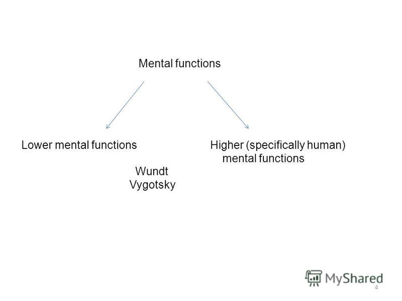Mental functions Lower mental functions Higher (specifically human) mental functions 4 Wundt Vygotsky