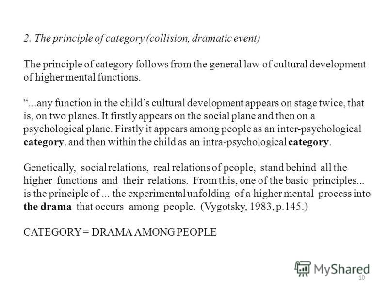 10 2. The principle of category (collision, dramatic event) The principle of category follows from the general law of cultural development of higher mental functions....any function in the childs cultural development appears on stage twice, that is,