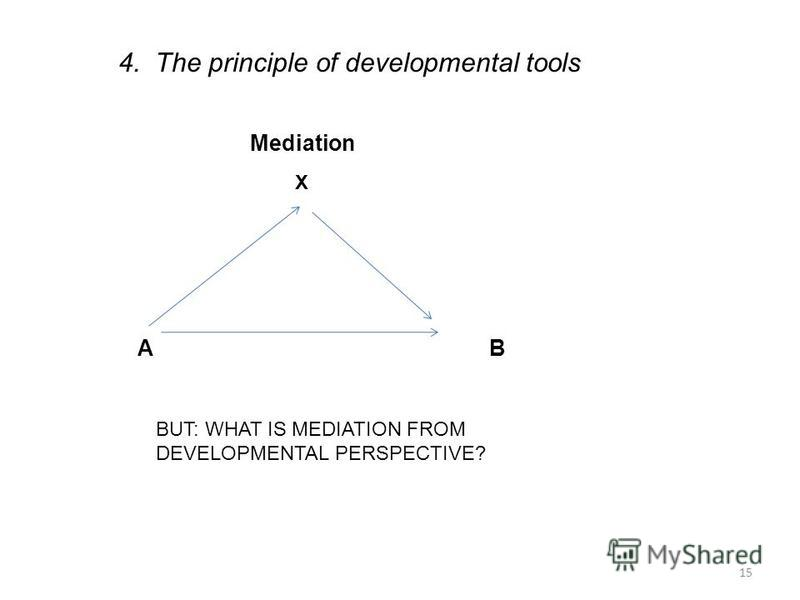 15 Mediation A B X 4. The principle of developmental tools BUT: WHAT IS MEDIATION FROM DEVELOPMENTAL PERSPECTIVE?