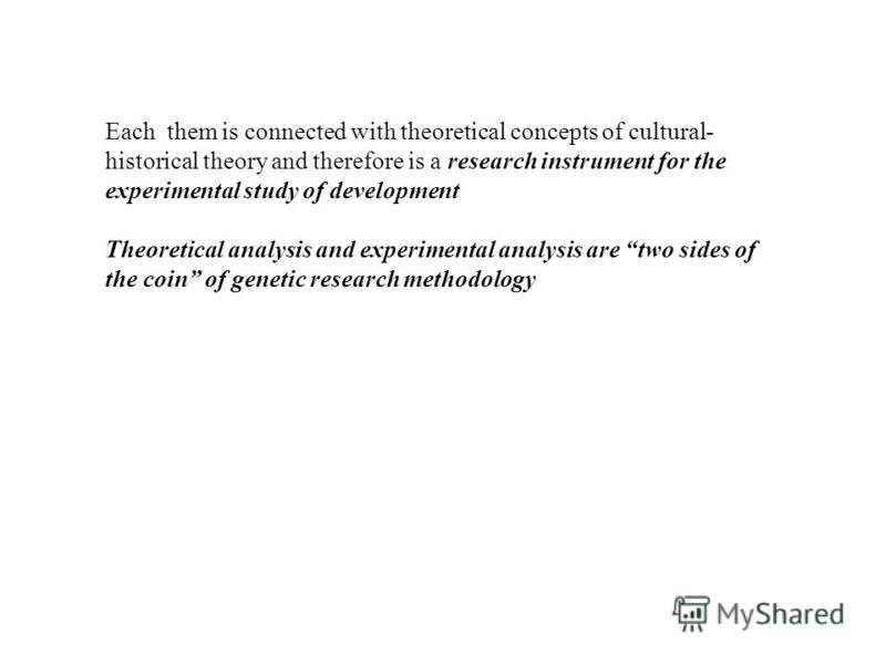 Each them is connected with theoretical concepts of cultural- historical theory and therefore is a research instrument for the experimental study of development Theoretical analysis and experimental analysis are two sides of the coin of genetic resea