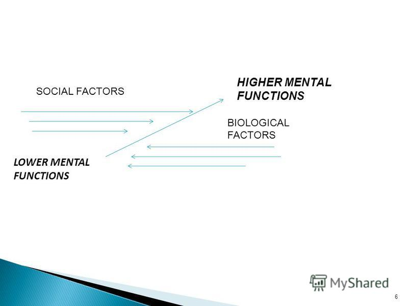 LOWER MENTAL FUNCTIONS HIGHER MENTAL FUNCTIONS SOCIAL FACTORS BIOLOGICAL FACTORS 6