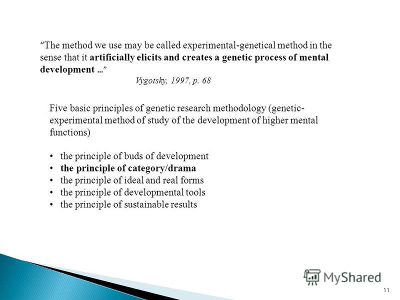 11 The method we use may be called experimental-genetical method in the sense that it artificially elicits and creates a genetic process of mental development … Vygotsky, 1997, p. 68 Five basic principles of genetic research methodology (genetic- exp