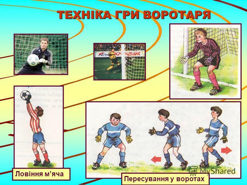 ТЕХНІКА ГРИ ВОРОТАРЯ ТЕХНІКА ГРИ ВОРОТАРЯ Пересування у воротах Ловіння мяча