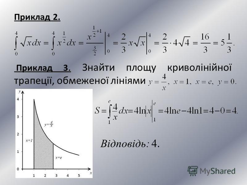 Приклад 2. Приклад 3. Знайти площу криволінійної трапеції, обмеженої лініями Відповідь: 4.