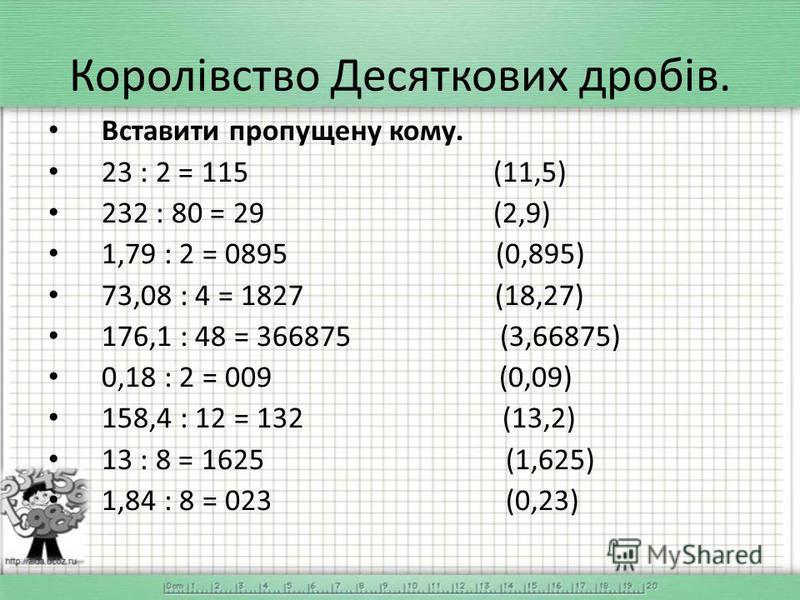 Вставити пропущену кому. 23 : 2 = 115 (11,5) 232 : 80 = 29 (2,9) 1,79 : 2 = 0895 (0,895) 73,08 : 4 = 1827 (18,27) 176,1 : 48 = 366875 (3,66875) 0,18 : 2 = 009 (0,09) 158,4 : 12 = 132 (13,2) 13 : 8 = 1625 (1,625) 1,84 : 8 = 023 (0,23)