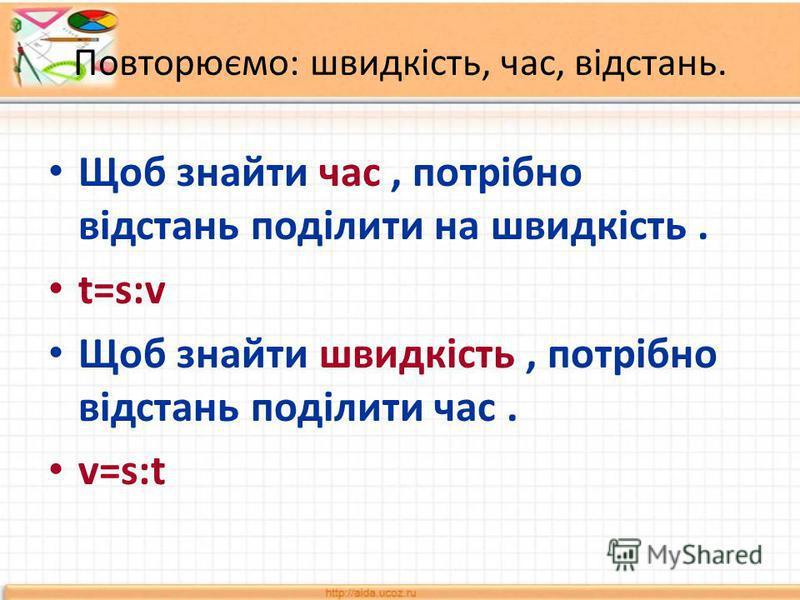 Повторюємо: швидкість, час, відстань. Щоб знайти час, потрібно відстань поділити на швидкість. t=s:v Щоб знайти швидкість, потрібно відстань поділити час. v=s:t