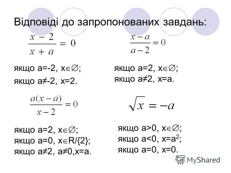 Відповіді до запропонованих завдань: якщо a=-2, x ; якщо a-2, x=2. якщо a=2, x ; якщо a2, x=a. якщо a=2, x ; якщо a=0, x R/{2}; якщо a2, a0,x=a. якщо a>0, x ; якщо a<0, x=a 2 ; якщо a=0, x=0.