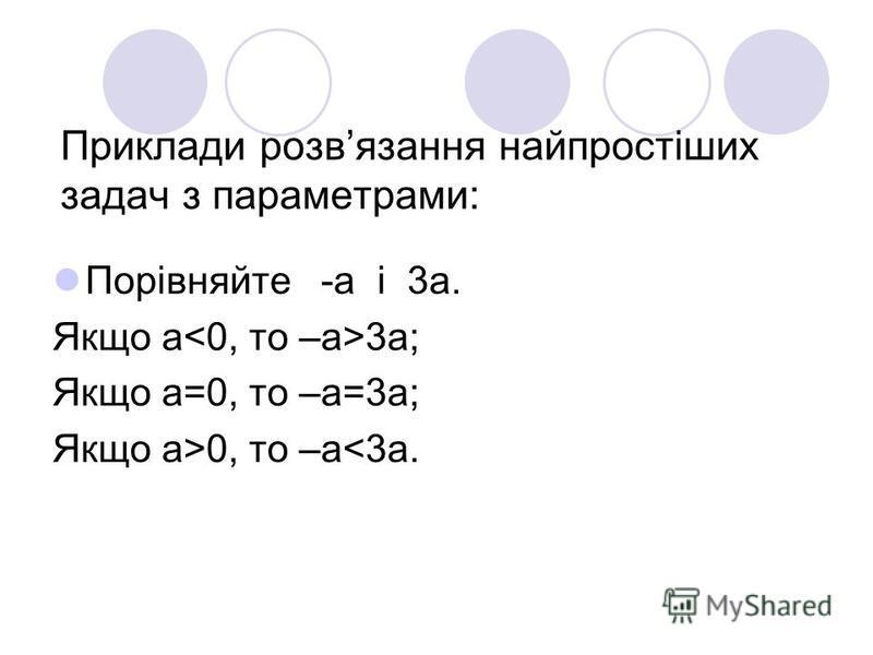 Приклади розвязання найпростіших задач з параметрами: Порівняйте -а і 3а. Якщо a<0, то –a>3a; Якщо a=0, то –a=3a; Якщо a>0, то –a<3a.