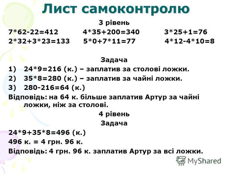 Лист самоконтролю 3 рівень 7*62-22=412 4*35+200=340 3*25+1=76 2*32+3*23=133 5*0+7*11=77 4*12-4*10=8 Задача 1)24*9=216 (к.) – заплатив за столові ложки. 2)35*8=280 (к.) – заплатив за чайні ложки. 3)280-216=64 (к.) Відповідь: на 64 к. більше заплатив А