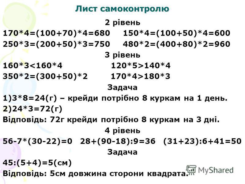 Лист самоконтролю 2 рівень 170*4=(100+70)*4=680 150*4=(100+50)*4=600 250*3=(200+50)*3=750 480*2=(400+80)*2=960 3 рівень 160*3 140*4 350*2=(300+50)*2 170*4>180*3 Задача 1)3*8=24(г) – крейди потрібно 8 куркам на 1 день. 2)24*3=72(г) Відповідь: 72г крей