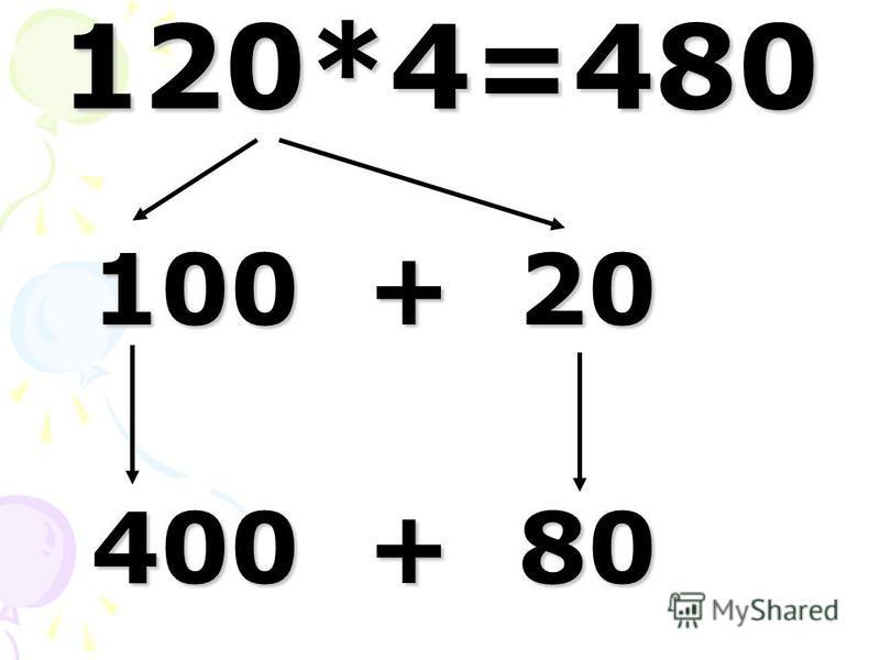 120*4=480 100 + 20 100 + 20 400 + 80 400 + 80
