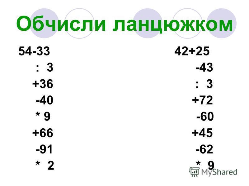 Обчисли ланцюжком 54-33 42+25 : 3 -43 +36 : 3 -40 +72 * 9 -60 +66 +45 -91 -62 * 2 * 9