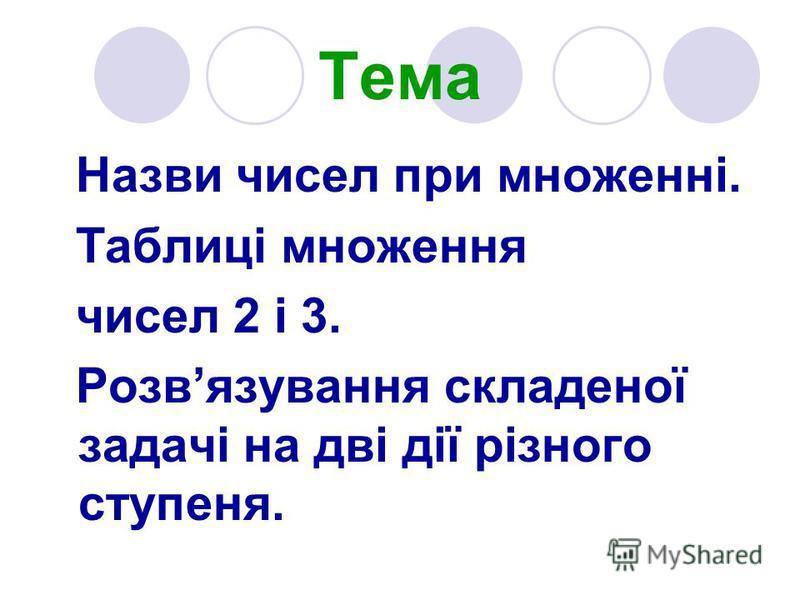 Тема Назви чисел при множенні. Таблиці множення чисел 2 і 3. Розвязування складеної задачі на дві дії різного ступеня.