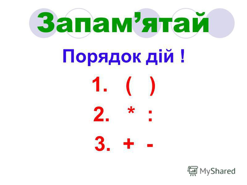 Запамятай Порядок дій ! 1. ( ) 2. * : 3. + -