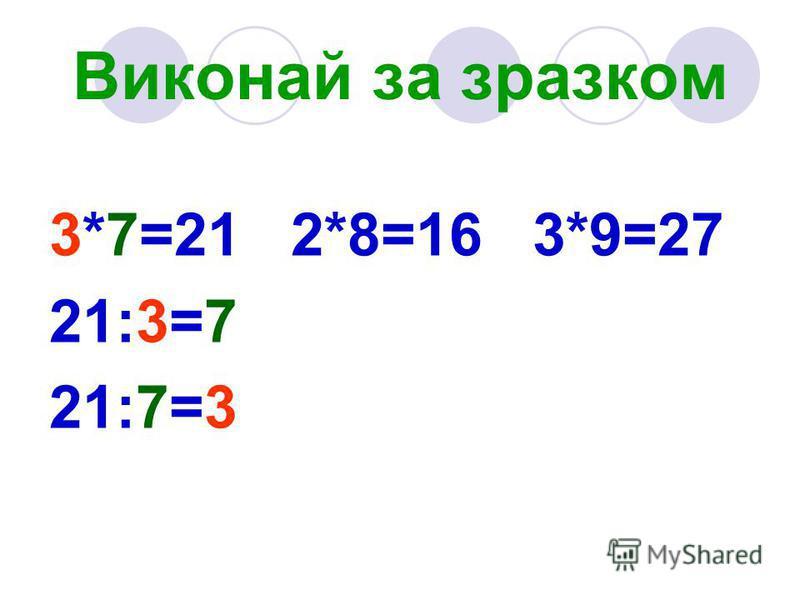 Виконай за зразком 3*7=21 2*8=16 3*9=27 21:3=7 21:7=3