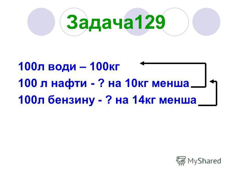 Задача129 100л води – 100кг 100 л нафти - ? на 10кг менша 100л бензину - ? на 14кг менша