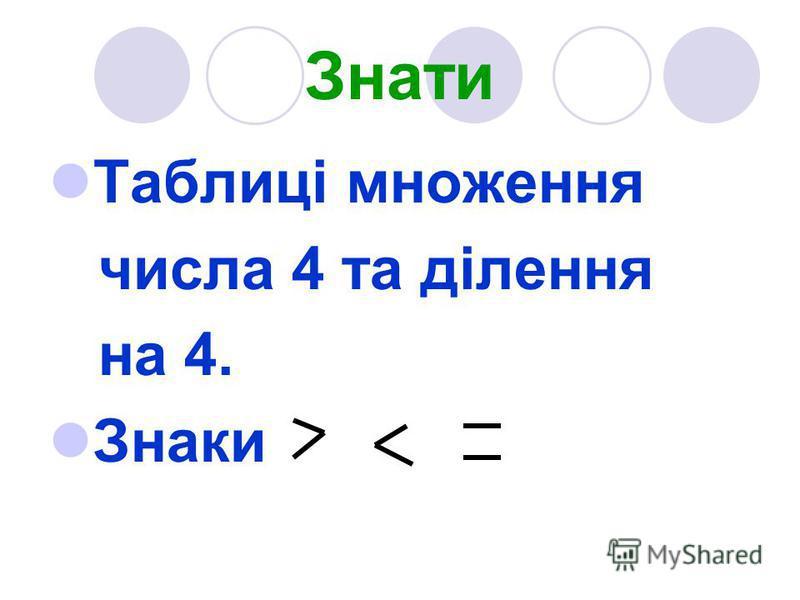 Знати Таблиці множення числа 4 та ділення на 4. Знаки