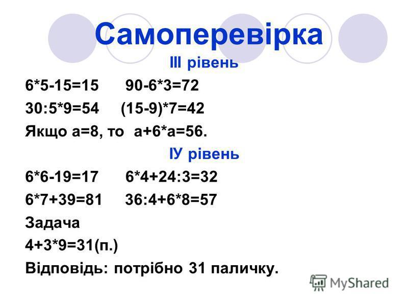Самоперевірка ІІІ рівень 6*5-15=15 90-6*3=72 30:5*9=54 (15-9)*7=42 Якщо а=8, то а+6*а=56. ІУ рівень 6*6-19=17 6*4+24:3=32 6*7+39=81 36:4+6*8=57 Задача 4+3*9=31(п.) Відповідь: потрібно 31 паличку.