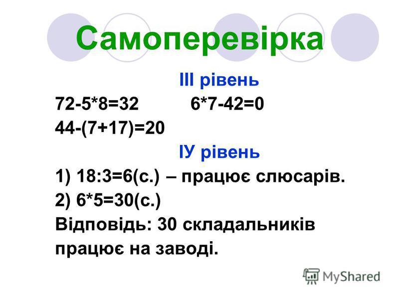 Самоперевірка ІІІ рівень 72-5*8=32 6*7-42=0 44-(7+17)=20 ІУ рівень 1) 18:3=6(с.) – працює слюсарів. 2) 6*5=30(с.) Відповідь: 30 складальників працює на заводі.