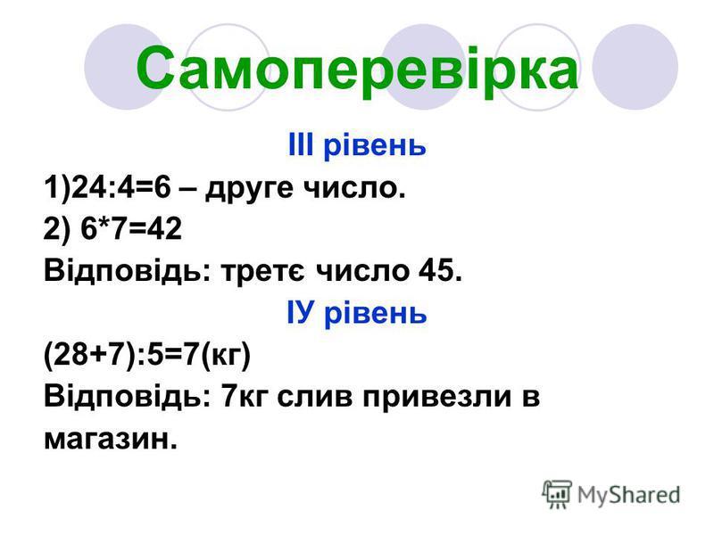 Самоперевірка ІІІ рівень 1)24:4=6 – друге число. 2) 6*7=42 Відповідь: третє число 45. ІУ рівень (28+7):5=7(кг) Відповідь: 7кг слив привезли в магазин.