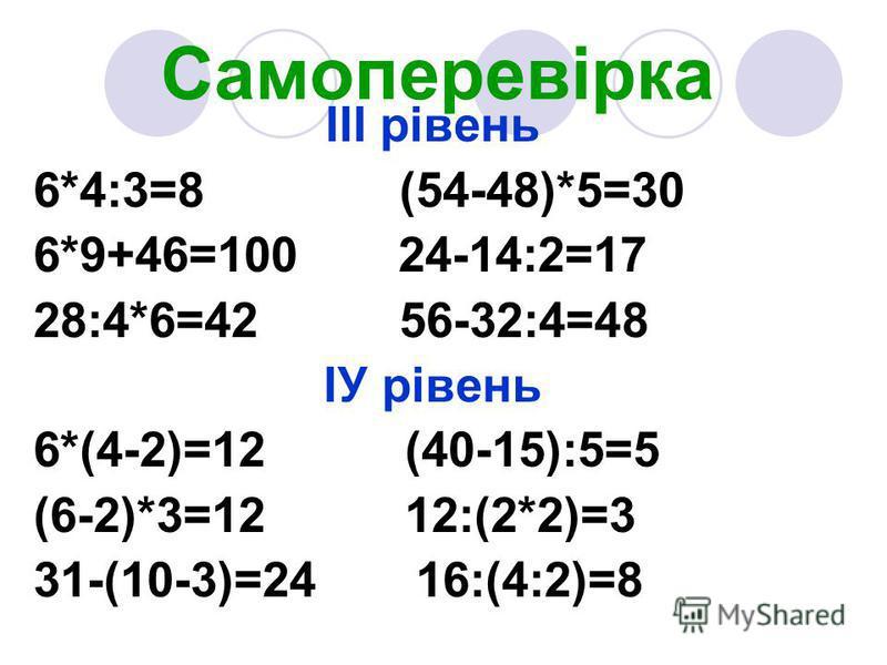 Самоперевірка ІІІ рівень 6*4:3=8 (54-48)*5=30 6*9+46=100 24-14:2=17 28:4*6=42 56-32:4=48 ІУ рівень 6*(4-2)=12 (40-15):5=5 (6-2)*3=12 12:(2*2)=3 31-(10-3)=24 16:(4:2)=8