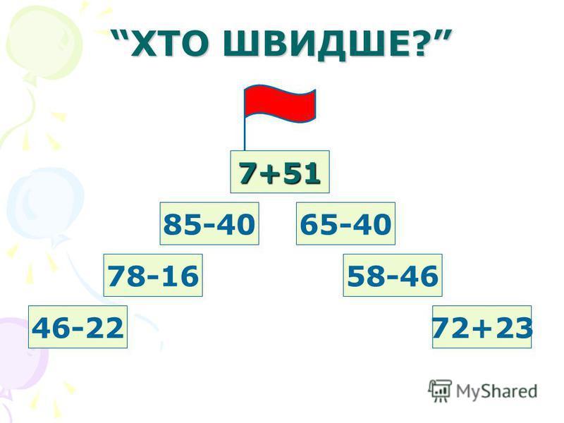 ХТО ШВИДШЕ? 7+51 65-4085-40 58-46 72+23 78-16 46-22