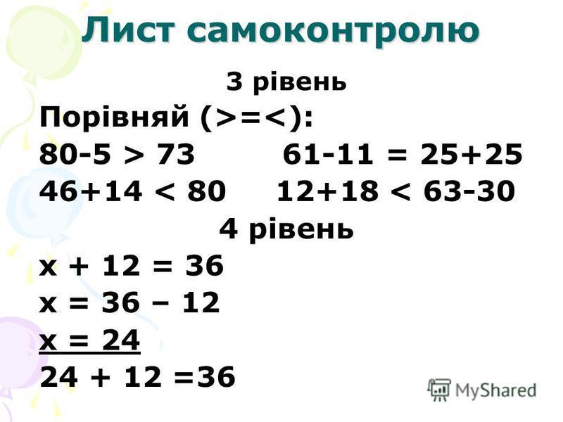 Лист самоконтролю 3 рівень Порівняй (>=<): 80-5 > 73 61-11 = 25+25 46+14 < 80 12+18 < 63-30 4 рівень х + 12 = 36 х = 36 – 12 х = 24 24 + 12 =36