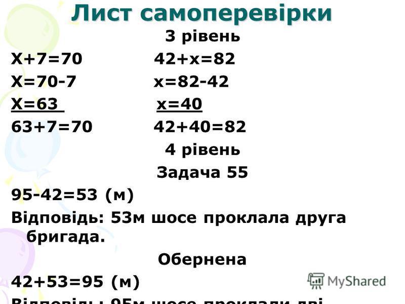 Лист самоперевірки 3 рівень Х+7=70 42+х=82 Х=70-7 х=82-42 Х=63 х=40 63+7=70 42+40=82 4 рівень Задача 55 95-42=53 (м) Відповідь: 53м шосе проклала друга бригада. Обернена 42+53=95 (м) Відповідь: 95м шосе проклали дві бригади.