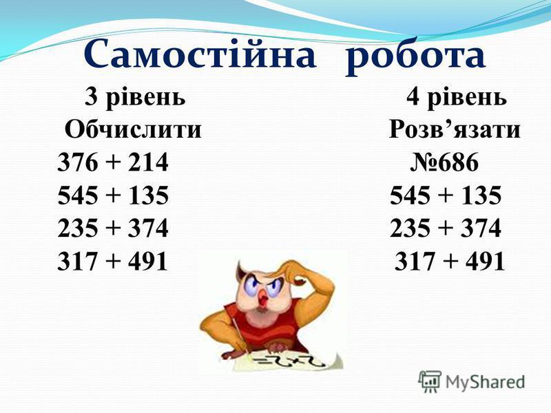 Самостійна робота 3 рівень 4 рівень Обчислити Розвязати 376 + 214 686 545 + 135 545 + 135 235 + 374 235 + 374 317 + 491 317 + 491