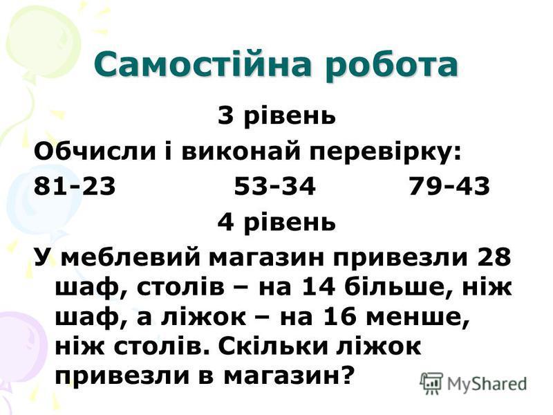 Самостійна робота 3 рівень Обчисли і виконай перевірку: 81-23 53-34 79-43 4 рівень У меблевий магазин привезли 28 шаф, столів – на 14 більше, ніж шаф, а ліжок – на 16 менше, ніж столів. Скільки ліжок привезли в магазин?
