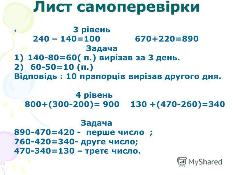 Лист самоперевірки 3 рівень 240 – 140=100 670+220=890 Задача 1)140-80=60( п.) вирізав за 3 день. 2) 60-50=10 (п.) Відповідь : 10 прапорців вирізав другого дня. 4 рівень 800+(300-200)= 900 130 +(470-260)=340 Задача 890-470=420 - перше число ; 760-420=