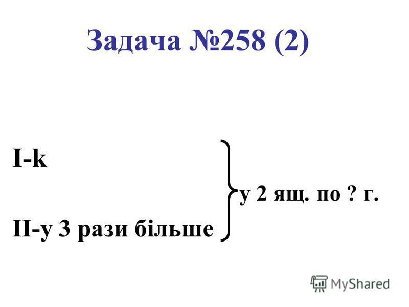 Задача 258 (2) I-k у 2 ящ. по ? г. II-у 3 рази більше