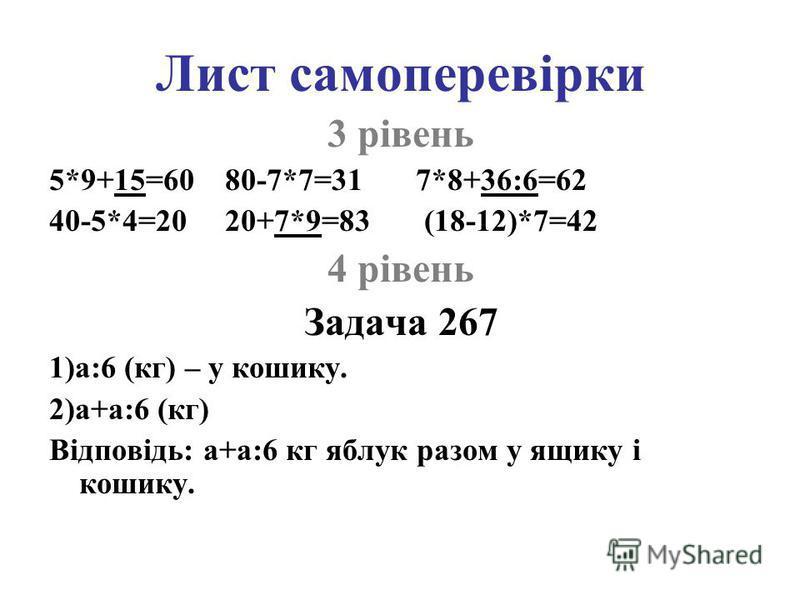 Лист самоперевірки 3 рівень 5*9+15=60 80-7*7=31 7*8+36:6=62 40-5*4=20 20+7*9=83 (18-12)*7=42 4 рівень Задача 267 1)а:6 (кг) – у кошику. 2)а+а:6 (кг) Відповідь: а+а:6 кг яблук разом у ящику і кошику.