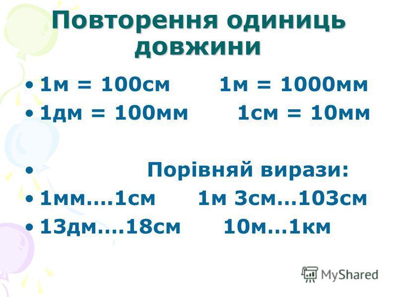 Повторення одиниць довжини 1м = 100см 1м = 1000мм 1дм = 100мм 1см = 10мм Порівняй вирази: 1мм….1см 1м 3см…103см 13дм….18см 10м…1км