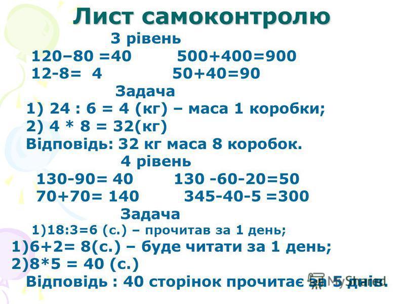 Лист самоконтролю 3 рівень 120–80 =40 500+400=900 12-8= 4 50+40=90 Задача 1) 24 : 6 = 4 (кг) – маса 1 коробки; 2) 4 * 8 = 32(кг) Відповідь: 32 кг маса 8 коробок. 4 рівень 130-90= 40 130 -60-20=50 70+70= 140 345-40-5 =300 Задача 1)18:3=6 (с.) – прочит