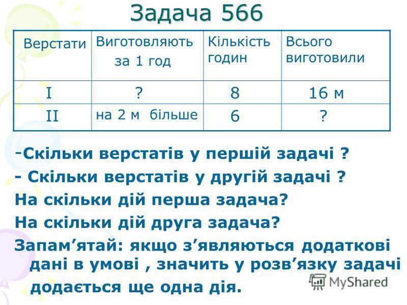 Задача 566 - Скільки верстатів у першій задачі ? - Скільки верстатів у другій задачі ? На скільки дій перша задача? На скільки дій друга задача? Запамятай: якщо зявляються додаткові дані в умові, значить у розвязку задачі додається ще одна дія. Верст