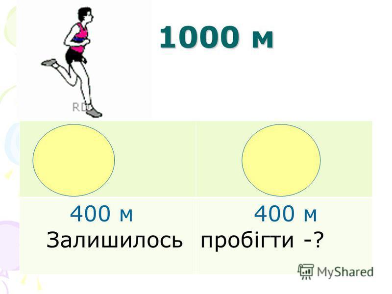 1000 м 1000 м 400 м Залишилось 400 м пробігти -?