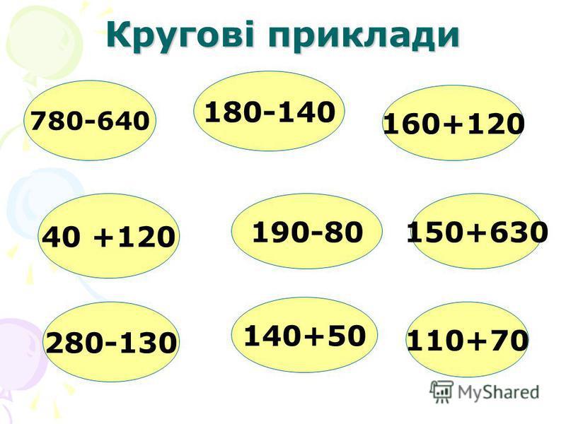 Кругові приклади 780-640 180-140 190-80 40 +120 280-130 140+50 160+120 150+630 110+70