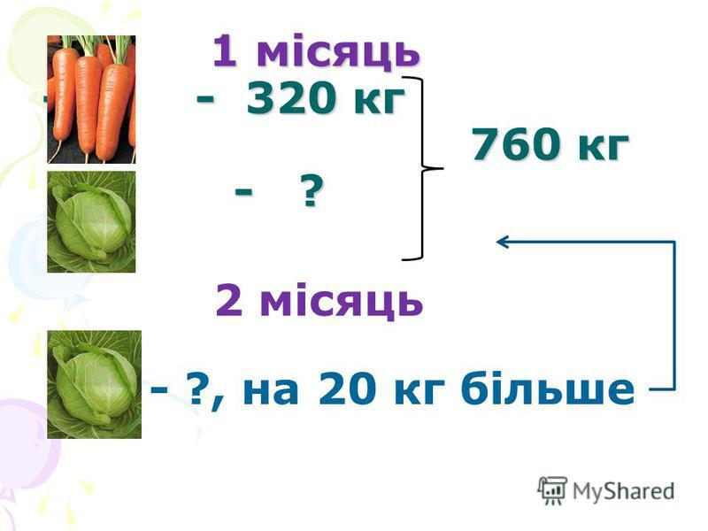 1 місяць - - 320 кг 760 кг - ? 1 місяць - - 320 кг 760 кг - ? 2 місяць - ?, на 20 кг більше