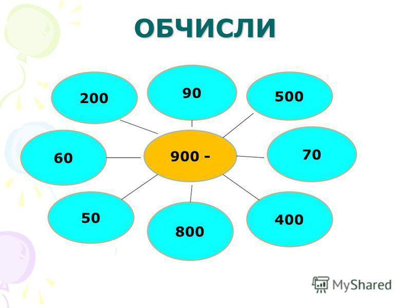 ОБЧИСЛИ 90 500 900 - 70 200 50 800 400 60