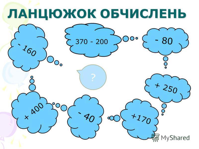ЛАНЦЮЖОК ОБЧИСЛЕНЬ + 400 ? + 250 - 80 - 160 370 - 200 - 40 +170