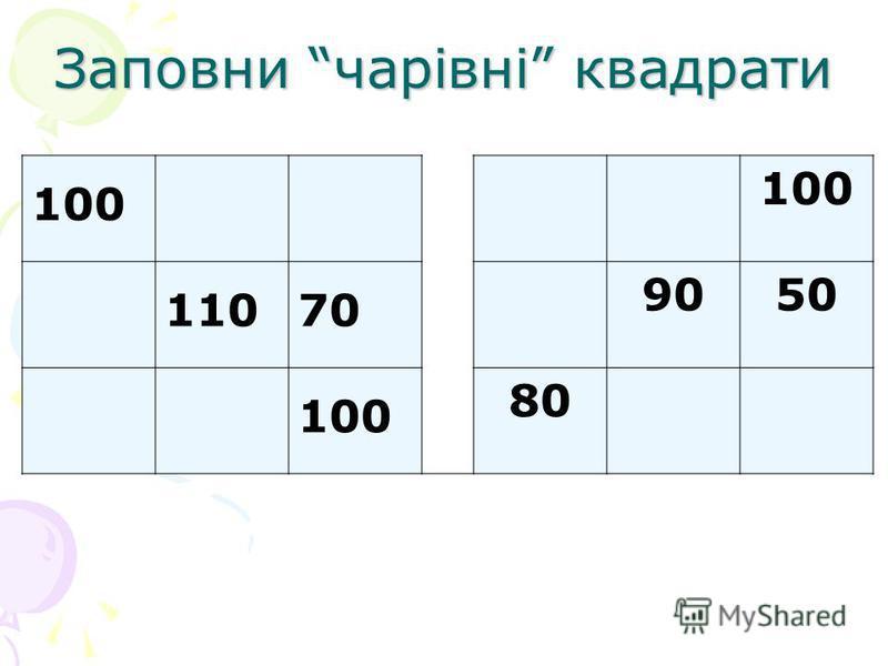 Заповни чарівні квадрати 100 11070 9050 100 80