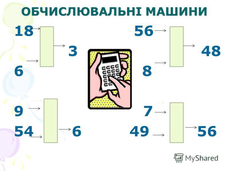 ОБЧИСЛЮВАЛЬНІ МАШИНИ 18 56 3 48 6 8 9 7 54 6 49 56